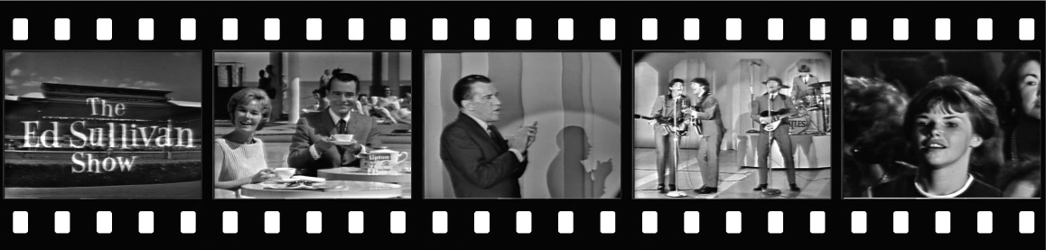 The Feb. 16 show: Title card from Miami Beach; George Fenneman and random woman punt Lipton Tea; Ed Sullivan and his shadow; The Beatles in full song (note John's wide-apart legs); Beatles fan controls her hysteria; today she probably tells her grandchildren about seeing the Beatles.