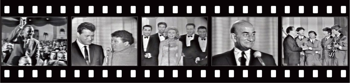 On the Feb 16 show: Heavyweight champ Sonny Liston is introduced; comics Steve Rossi & Marty Allen; Mitzi Gaynor and pals; comedian Myron Cohen; Ed Sullivan greets the Fab Four.