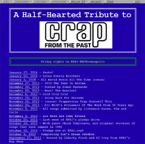 Crap From The Past Tribute