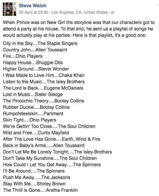 Prince DJ playlist